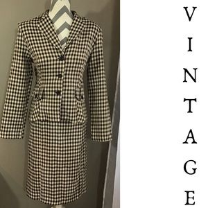 Vintage 90s  Houndstooth Skirt Suit